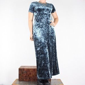 Blue crushed vintage 90s vintage maxi dress